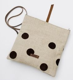 Image of foldover crossbody bag with hand cut leather polka dots (espresso)