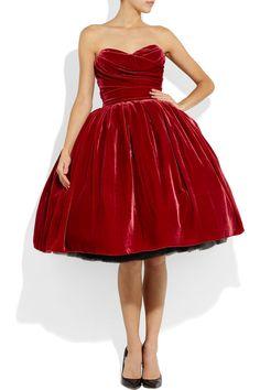 Love that dress! Usually I don't really like D    Dolce & Gabbana|Strapless velvet dress|NET-A-PORTER.COM