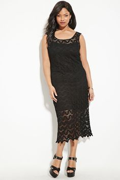 Forever 21+ - A sleeveless midi dress crafted from an ornate knit crochet with a scalloped hem.