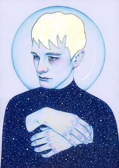 Alienated II - Sadman Art Print by Natalie Foss Illustration Art And Illustration, Portrait Illustration, Illustrations, Art Inspo, Kunst Inspo, Poster Online, Gcse Art, Art Mural, Art Graphique