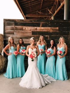 Tiffany blue and coral wedding.