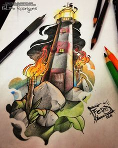 Fe.RoD_Felipe Rodrigues: Farol Tattoo Flash _ Fe RoD