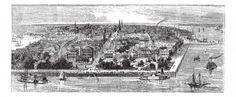 Charleston, in South Carolina, USA, during the 1890s, vintage engraving. Old engraved illustration of Charleston. photo