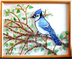 Blue jay with seaglass Sea Glass Beach, Sea Glass Art, Mosaic Glass, Stained Glass, Nature Beach, Art Nature, Broken Glass Art, Mosaic Birds, Seaside Decor