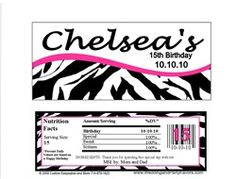 Zebra stripes candy bar wrapper with hot pink. Colors can always be changed