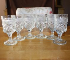 Vintage, Set of 6, Anchor Hocking, Wexford, Claret Wine Glasses by cocoandcoffeevintage