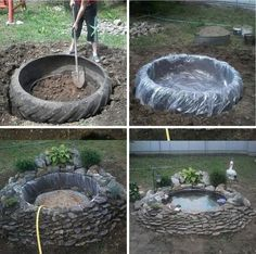 ~tire pond~ old recycled reused repurposed tire large big plastic stones rocks plants decoration water pond fish turtles garden calm pretty landscaping Garden Yard Ideas, Garden Projects, Garden Art, Tire Garden, Wood Projects, Ponds Backyard, Backyard Patio, Garden Ponds, Backyard Ideas