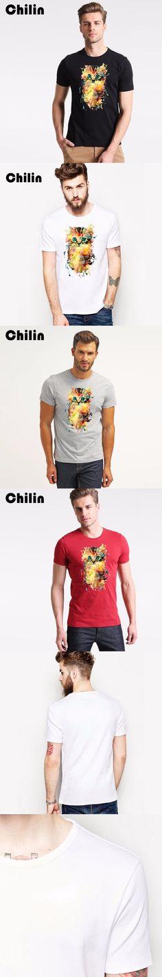 Chilin 2017 New Summer Kitten Tshirt Painting Cat Printed T Shirt Men Casual Tee Shirt Short Sleeve O Neck T-Shirt For Mens