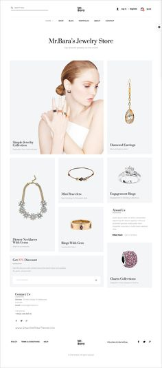 Bara - Responsive Multi-Purpose eCommerce WordPress Theme by drfuri on ThemeForest. MrBara is an unique and modern WooCommerce WordPress shopping theme for WordPress built with Bootstrap and powered b. Ecommerce Web Design, Wordpress Theme Design, Jewelry Sites, Jewelry Website, Wedding Jewellery Inspiration, Catalogue Layout, Shop Layout, Web Layout, Website Design Layout