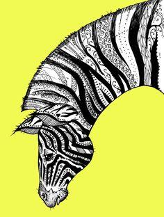 Tattooed Zebra 2 Print on Bright Yellow by TaraPut on Etsy Zebra Kunst, Zebra Art, Zentangle Drawings, Mandala Drawing, Zentangles, African Colors, African Art, Zebra Tattoos, Black And White Quilts