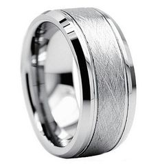 This mens wedding ring brings in a classic look with a modern look as well. The center of the wedding band is designed with a beautiful brushed finish giving it