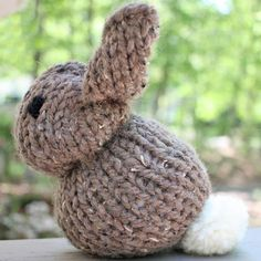Make this adorable stuffed Bunny Rabbit using only 1 knitted square. Perfect pattern for beginners!