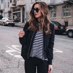 The bomber jacket to complete all of our outfits, as seen on style blogger Nichole Ciotti of Vanilla Extract | #styleblogger #fashionblogger #bomberjacket