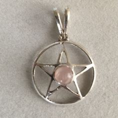 Rose Quartz Wiccan sterling pendant Sterling silver no stamp Jewelry Necklaces