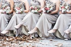 Gray bridesmaid dresses, Rustic pink and orange bouquets, photo by BG Productions Beautiful Bridesmaid Dresses, Colored Wedding Dresses, Dream Wedding Dresses, Grey Dresses, Bridesmaid Bouquets, Bridal Bouquets, Satin Dresses, Wedding Bouquet, Wedding Wishes