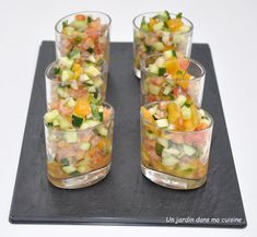 Verrines tartare légumes crevettes - Un jardin dans ma cuisine Vegetable Salad, Fresh Rolls, Tapas, Buffet, Menu, Snacks, Dishes, Vegetables, Ethnic Recipes
