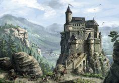 Highlands castle by K Kom on DeviantArt Fantasy art landscapes Fantasy landscape Fantasy castle