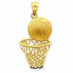 14k Gold Satin Diamond-cut Basketball & Net Pendant