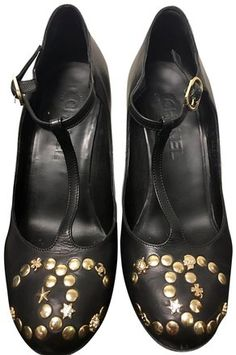 d9613859cc97 Black Ultra Rare Cc Charmslucky Symbols Studded Wedge Orig Box Pumps