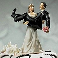'To Have and To Hold' Bride Carrying Groom Cake Topper