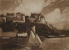 Harbour from Mosman (Musgrave Street, Mosman) 1917 by Lionel Lindsay. Etching and aquatint; signed 'Lionel Lindsay' lower left: no. 20 of an edition of 30
