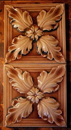 2x Antique Victorian Tile Gothic Relief Molded Floral Majolica Fireplace JOB LOT