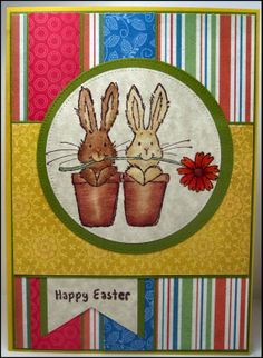 Mason Jar Cards : Easter 017 Penny Black - Daisy Bunnies