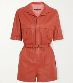 Inspired by utilitarian workwear, Zeynep Arcay's playsuit is made from supple leather in a deep peach hue. Fitted with patch and flap pockets, it has a sleek tonal belt and smart rounded collar. Wear it on your next night out with chunky mules. Lazy Outfits, Kpop Fashion Outfits, Gothic Fashion, Mule Plate, Short Cuir, Black Catsuit, Leather Jumpsuit, 2020 Fashion Trends, Playsuits