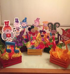 The Notekins Party - centerpieces Baby first TV Harry Birthday, Sons Birthday, Birthday Diy, Birthday Ideas, First Birthday Party Themes, Baby Girl First Birthday, Birthday Decorations, Baby First Tv, Elmo Party