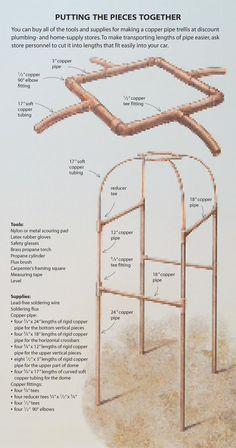 A Copper Pipe Trellis DIY instructions for building a copper pipe trellis. Cool, but copper is so expensive.DIY instructions for building a copper pipe trellis. Cool, but copper is so expensive. Diy Garden, Garden Crafts, Dream Garden, Pvc Pipe Garden Ideas, Garden Care, Garden Tips, Pvc Projects, Outdoor Projects, Garden Projects