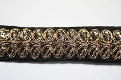 Galon Indien Noir Brodé Doré 2,5 cm x 1 m : Galons par crea-loisirs