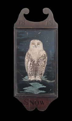 Snow owl, sign painting. (Looks like something you would find in a wizarding village!)