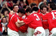 The United team celebrate as Fergie time was born in April 1993 under manager Sir Alex Fer...