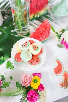"""If all good party themes begin with puns (and, of course, they do), then we're in for a treat with this """"1 in a melon"""" first birthday. Hoping to inspire a summer of kiddo birthday parties, Gloria of C"""