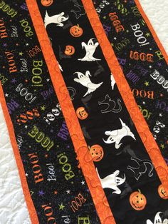 Halloween Table Runner Quilt, Ghosts, Pumpkins, Boo Table Topper Quilt, Black, Orange, Quiltsy Handmade by KeriQuilts on Etsy