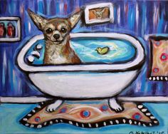 Cute Chihuahua bath smile painting happy art by Angie Ketelhut