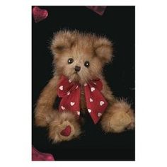 """Lover Boy Bearington Christmas Stuffed Animal Gift 8.5"""" Traditional Brown Teddy Bear with Red Bow By Bearington Collection"""