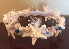 Xo bouquet seashell crown tiara by XOBOUQUETS on Etsy