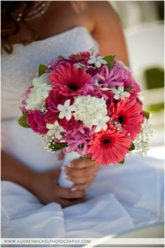 orange gerber daisy and baby's breath bridal bouquet | ... , baby's breath, gerber daisies, calla lilies and nerine lilies