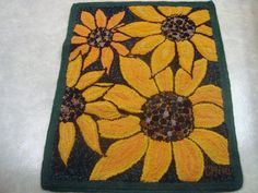 """Sunflowers made by Carmen Hall 2014 made from recycled garments. 43""""x34"""" made with RC speed tufting tool"""