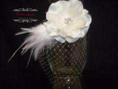 Bridal Hair Piece, Wedding Hair Fascinator, Birdcage Veil Hairpiece, Flower Girl Headband, Hair Clip, Special Occasion, Photography Prop