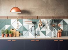 / triangle tile backsplash / trendy color with copper accents / kitchen trends 2019 / The post Step up your kitchen style with the latest design trends for 2019 appeared first on Best Pins for Yours - Kitchen Decoration Kitchen Tiles Design, Kitchen Colors, Tile Design, Kitchen Backsplash, Backsplash Ideas, Tile Ideas, Design Design, Design Elements, Kitchen Cabinets