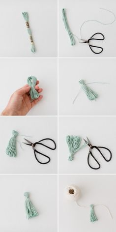 Step-by-step guide to making mini tassels from a skein of embroidery floss - DIY Mini Tassel Garland Diy Tassel Garland, Diy Tassel Earrings, Diy Pompon, Craft Projects, Sewing Projects, Diy And Crafts, Arts And Crafts, Lion Brand Yarn, Making Ideas