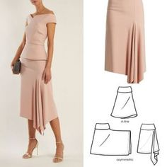 Diy dress skirt pattern makingDiscover thousands of images about Tutorial kain kipas hadapanhow to draft a sleevefrom fashion design Fashion Sewing, Diy Fashion, Fashion Dresses, Skirt Patterns Sewing, Clothing Patterns, Pattern Sewing, Asymmetrical Skirt, Pattern Fashion, Diy Clothes