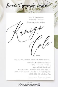 This simple typography wedding invitation is elegant, sophisticated, and stylish. Check out more customizable wedding invitation designs on our website. #weddings #weddinginvitations #simplewedding #elegantinvitation #typography