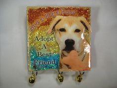 "EFA Charity Item: Handmade Yellow Labrador Mix Pin ""Give a Dog a Bone, Adopt a Best Friend"""
