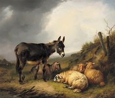 EUGENE JOSEPH VERBOECKHOVEN - A donkey, goat and sheep in a pasture