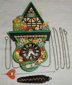 Walt Disney Snow White The Seven Dwarves Cottage Wall Clock Vintage Germany | eBay