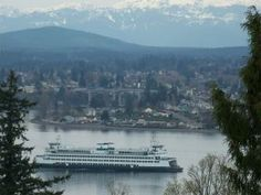 bremerton, view of the ferry good times in WA :) Ferry Boat, Olympic Peninsula, Washington State, Pacific Northwest, Good Times, Paris Skyline, Stuff To Do, Scenery, World