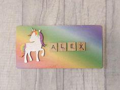 Personalised Unicorn sign Rainbow bedroom door plaque